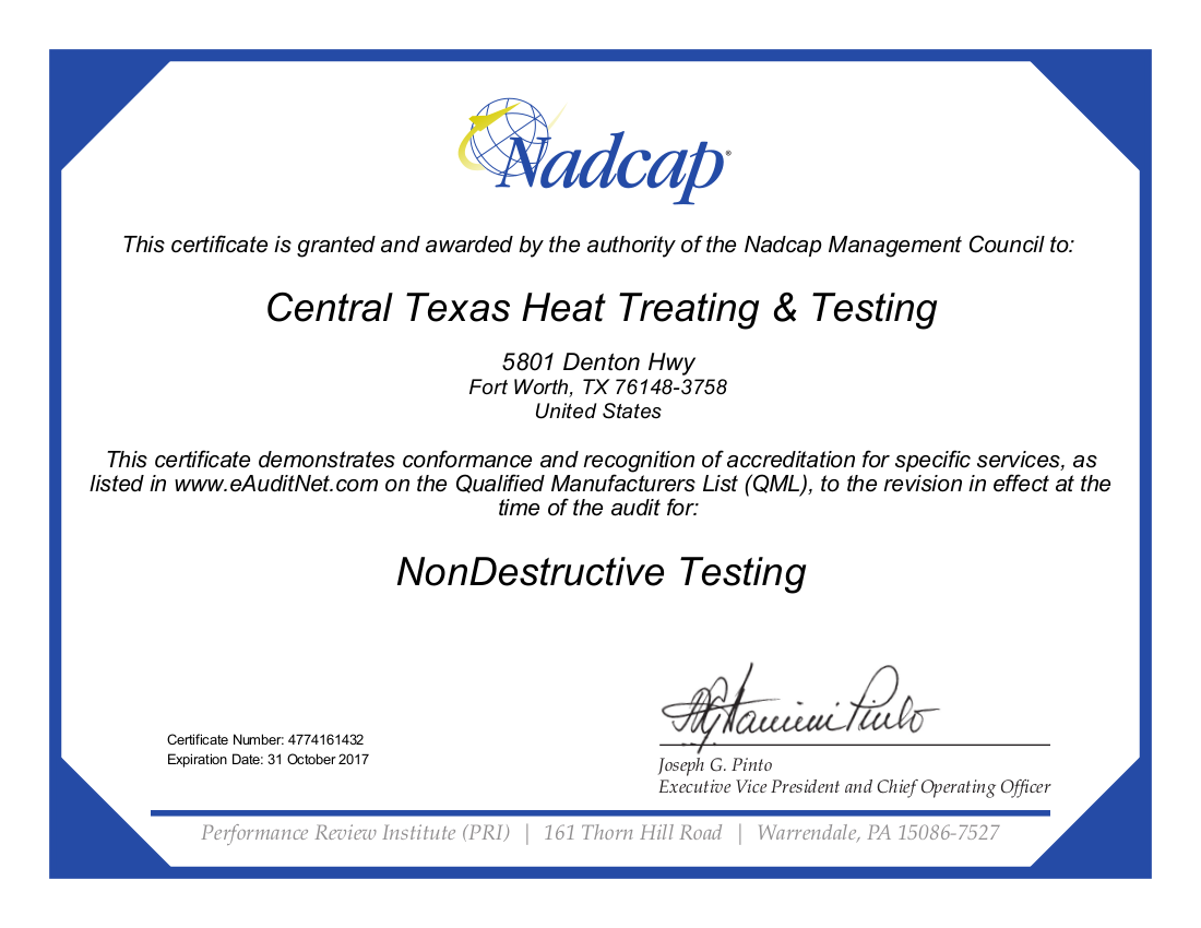 Nadcap NonDestuctive Testing Certification