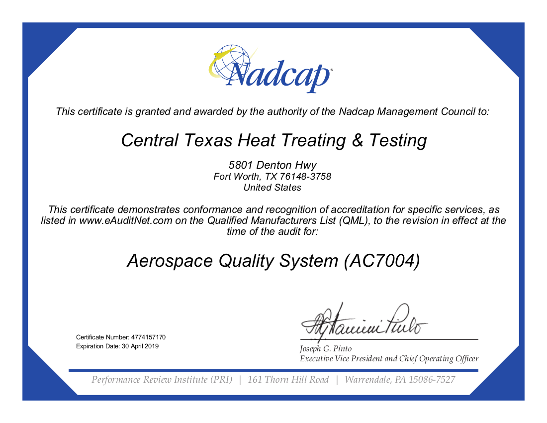 Aerospace Quality System (AC7004) Certification